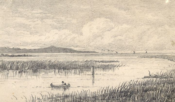 The outlet of the Pottawatomi River in Owen Sound to Lake Huron sketched in 1874 by George Harlow White.