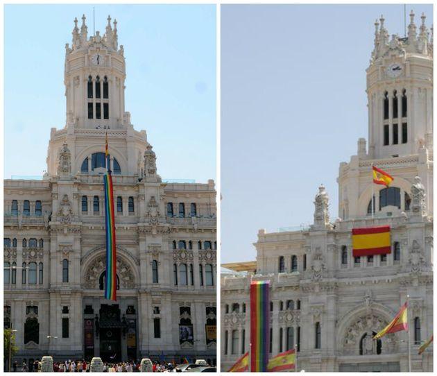 La bandera LGTBI durante la etapa de Carmena y la bandera LGTBI con el gobierno de