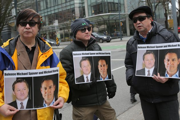 Protesters calling for the release of Canadian citizens Michael Spavor and Michael Kovrig outside British...