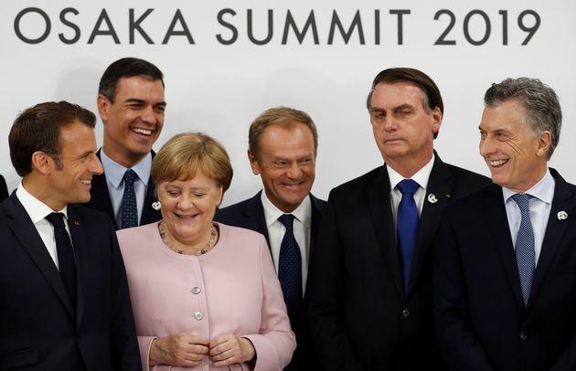 Presidente da França, Emmanuel Macron, premiê da Espanha, Pedro Sanchez, chanceler da Alemanha,...