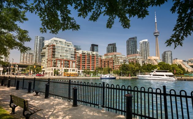 A view of condo towers along Queen's Quay in