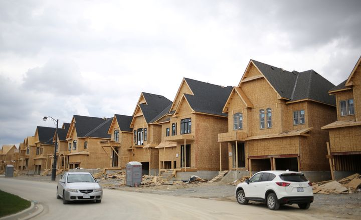 A row of houses under construction Kleinburg, Ont., about 50 kilometres north of downtown Toronto, May, 2017.