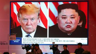 A screen shows North Korean leader Kim Jong Un, right, and U.S. President Donald Trump during New Korean Peninsula Regime for Shared Prosperity Symposium in Seoul, South Korea, Thursday, June 27, 2019. The U.S. and North Korea feel the need to resume diplomacy and are trying to narrow their differences for new summit talks, South Korean Unification Minister Kim Yeon-chul said Wednesday as he contrasted their efforts with the tensions surrounding Iran's collapsing nuclear accord. (AP Photo/Ahn Young-joon)
