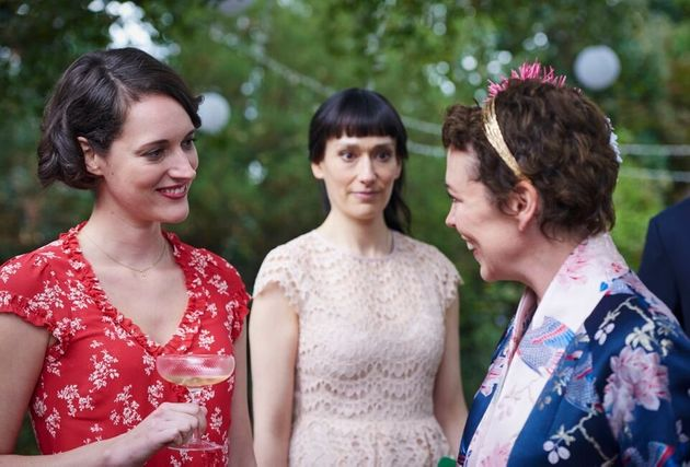 Phoebe with her on-screen sister and stepmother, Sian Clifford and Olivia