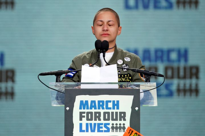 Emma González, a survivor of the mass shooting at Marjory Stoneman Douglas High School in Parkland, Florida, closes he