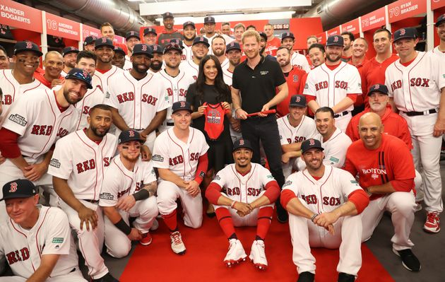 Harry and Meghan with the Boston Red Sox