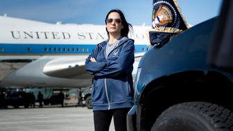 Acting White House Press Secretary Stephanie Grisham waits as Air Force One is refuelled at Elmendorf Air Force Base while travelling to Japan June 26, 2019, in Anchorage, Alaska. (Photo by Brendan Smialowski / AFP)        (Photo credit should read BRENDAN SMIALOWSKI/AFP/Getty Images)