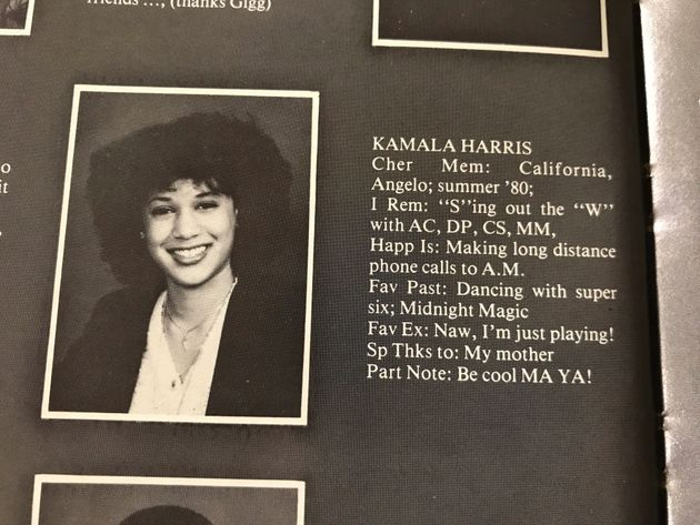 Kamala Harris, now a U.S. Senator and Democratic hopeful, is seen in a high school yearbook entry from