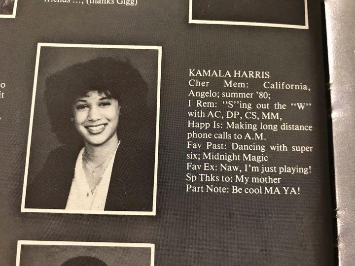 Kamala Harris, now a U.S. Senator and Democratic hopeful, is seen in a high school yearbook entry from Westmount.