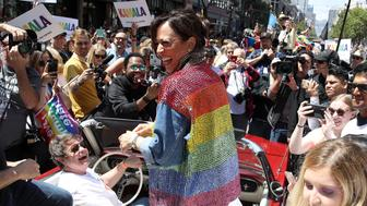 SAN FRANCISCO, CALIFORNIA - JUNE 30: Democratic presidential candidate U.S. Sen. Kamala Harris (D-CA) laughs as she rides in a car during the SF Pride Parade on June 30, 2019 in San Francisco, California. Sen. Harris spent the weekend in the San Francisco Bay Area where she attended a fundraiser and the annual SF Pride Parade.  (Photo by Justin Sullivan/Getty Images)