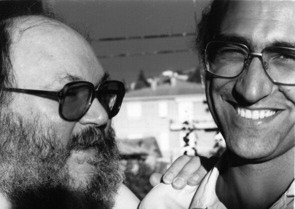Adriano Spatola con Giovanni