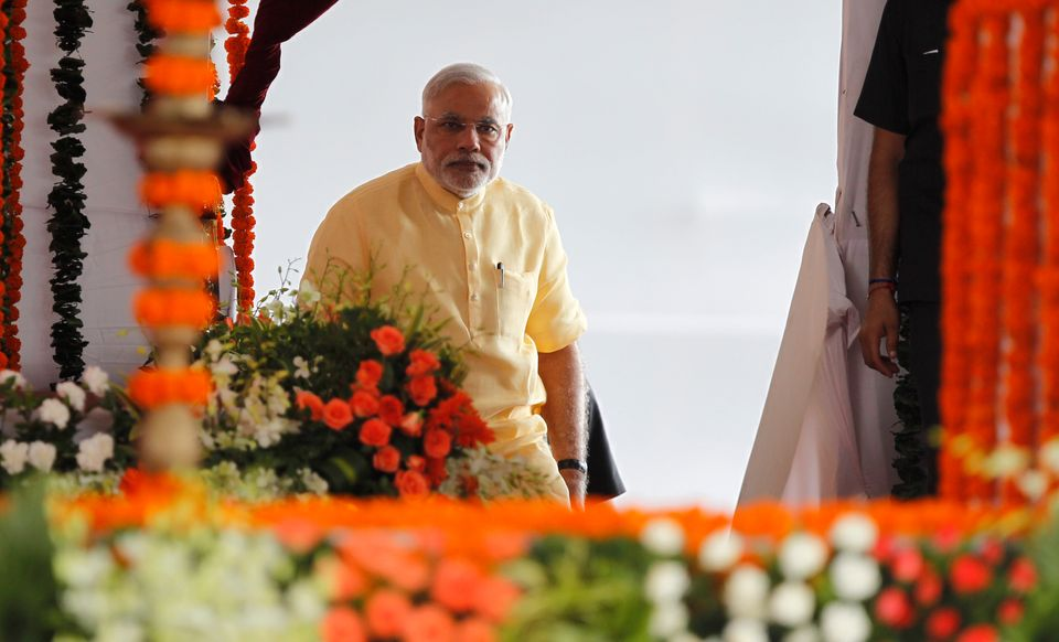PM Narendra Modi at the event to lay the foundation of the port-based multi-product special economic...