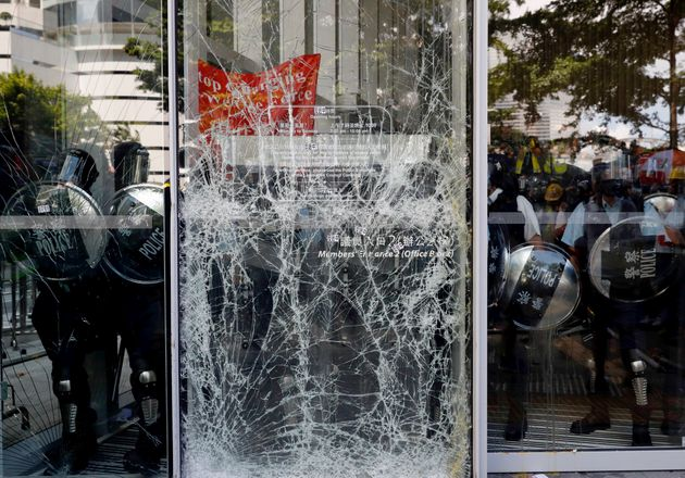 The cracked glass wall of the Legislative Council after protesters try to break into the Hong Kong