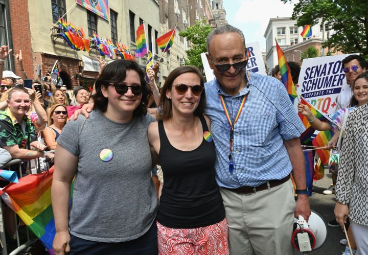 Senate Minority Leader Chuck Schumer (D-N.Y.) at the NYC Pride March with his daughter, Alison, and her wife, Elizabeth Weiland.