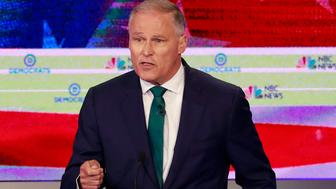 Democratic presidential candidate Washington Gov. Jay Inslee speaks during a Democratic primary debate hosted by NBC News at the Adrienne Arsht Center for the Performing Arts, Wednesday, June 26, 2019, in Miami. (AP Photo/Wilfredo Lee)