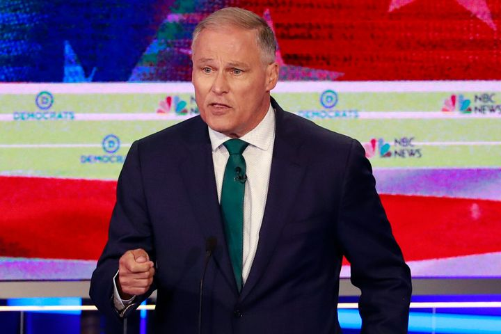 Democratic presidential candidate Washington Gov. Jay Inslee speaks during a primary debate on June 26, 2019, in Miami.