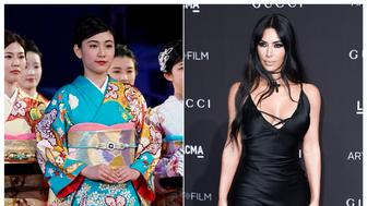 This combination photo shows a woman wearing a kimono during an award ceremony of the ISU World Team Trophy Figure Skating competition in Fukuoka, Japan on April 13, 2019, left, and reality star Kim Kardashian West at the 2018 LACMA Art+Film Gala in Los Angeles on Nov. 3, 2018. West has earned some backlash from Japanese people and others on social media who object to her appropriation of the traditional Japanese kimono as part of the name of her upcoming shapewear line. West announced her Kimono Solutionwear on Instagram, Tuesday, June 25, 2019. Some people on social media said the name, which West trademarked, is an inappropriate take centuries-old kimono clothing.  (AP Photo/Toru Hanai, left, and Richard Shotwell/Invision/AP)