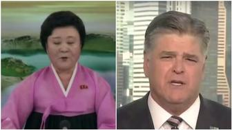 North Korea anchorwoman Ri Chun Hee and Fox News host Sean Hannity