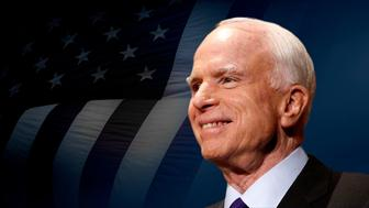 John McCain headshot, former US Senator of Arizona, on texture, partial graphic