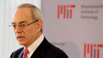 L. Rafael Reif addresses a news conference after he was announced as the 17th president of the Massachusetts Institute of Technology in Cambridge, Mass., Wednesday, May 16, 2012. Reif was elected to the post Wednesday morning by the MIT Corporation and will assume the presidency on July 2, 2012. (AP Photo/Stephan Savoia)