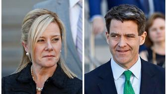 "FILE - This combination of March 29, 2017, file photos shows Bridget Kelly, left, leaving federal court after sentencing in Newark, N.J., and Bill Baroni leaving federal court after sentencing in Newark.  The Supreme Court has agreed to hear an appeal involving Kelly and Baroni, convicted in New Jersey's ""Bridgegate"" scandal.  They were convicted in 2016 of fraud and civil rights violations for realigning the lanes to the George Washington Bridge without telling local officials.  (AP Photo/Julio Cortez, File)"