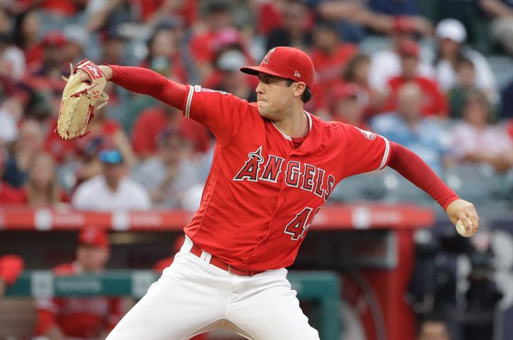 Tyler Skaggs throwing to the Oakland Athletics during the first inning of a baseball game on Saturday.