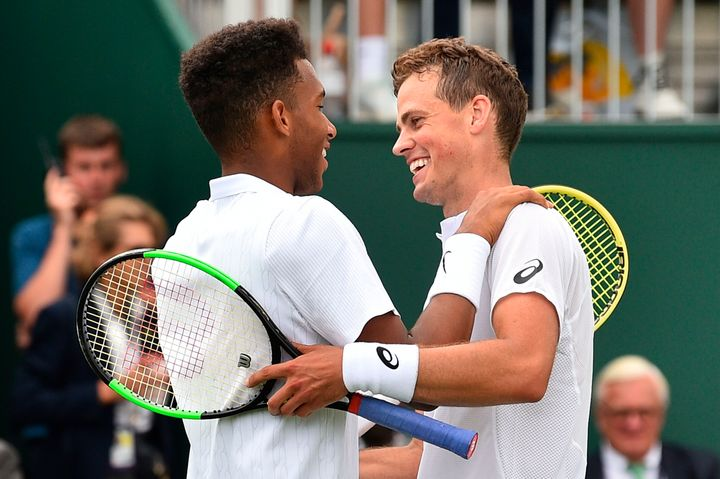 Mutual respect and admiration from two of Canada's best (Pospisil is on the right).