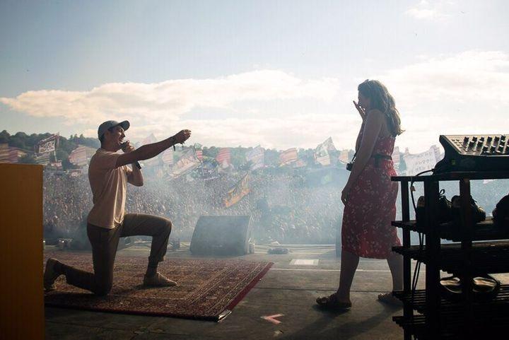 Adam (left) and Ellie (right) got engaged on Sunday at Glastonbury.