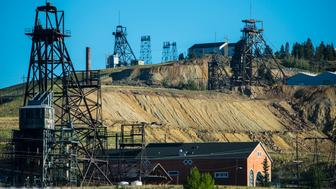 Old mine shaft headframes on a hill above Butte, Montana. The cooper from Butte helped build America. (Photo by William Campbell/Corbis via Getty Images)