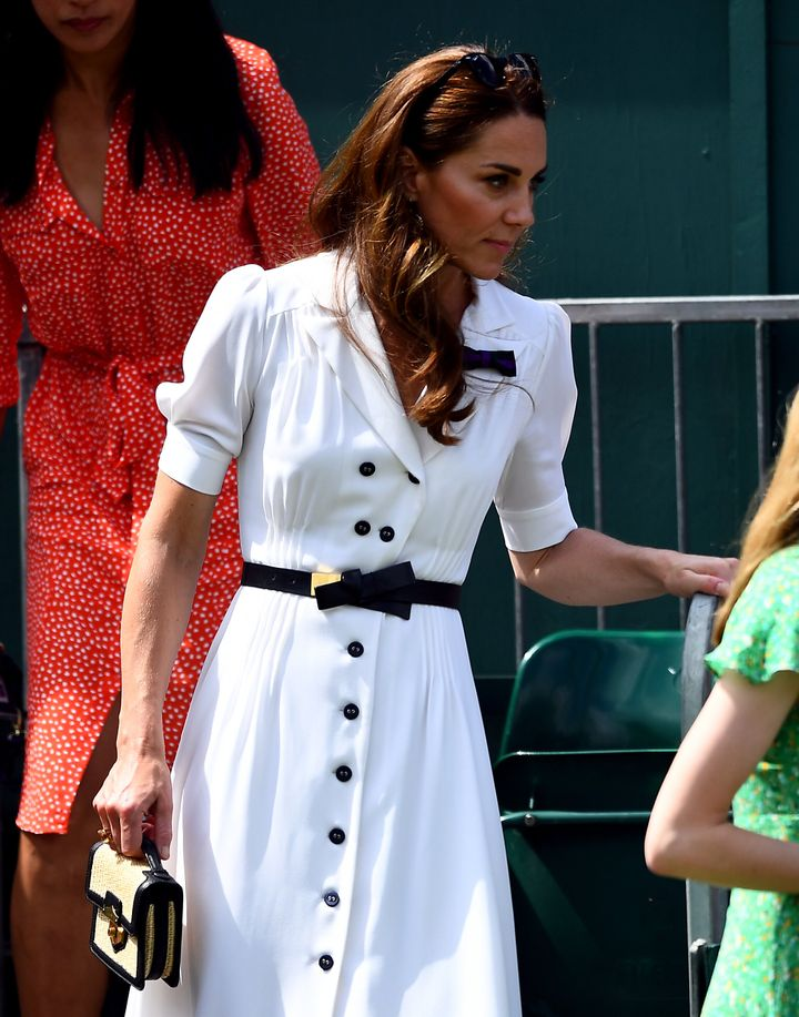 The duchess leaves Court 14 after watching Dart in action.