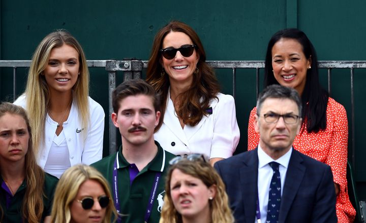 The Duchess of Cambridge with British tennis player Katie Boulter (left) and retired British tennis player Anne Keothavong (right) as they watch Dart.