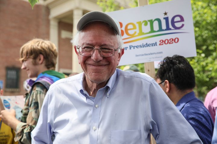Sen. Bernie Sanders (I-Vt.) attends the Pride Parade in Nashua, N.H., on Saturday. He no longer leads the pack in fundraising