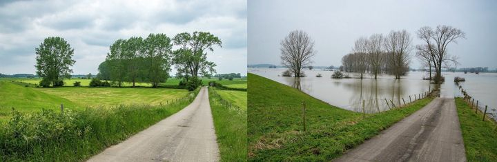 <em>An area along the Ijssel river near Zutphen. Water levels are low in the summer (left) and high in the winter (right).</e