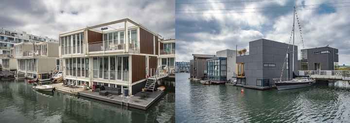 <em>Dutch architects have designed buildings that can withstand floods. These houses in Ijburg, just outside of Amsterdam, ar