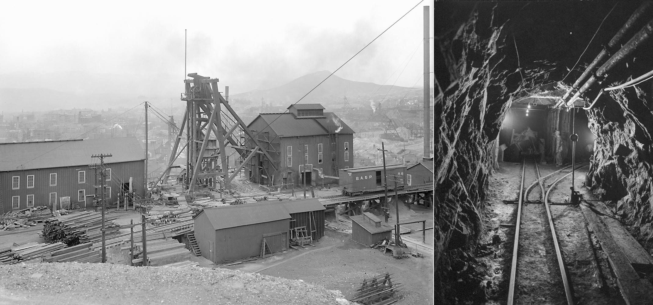 Left: Overview of the Anaconda Copper Mine operation in Butte, Montana, in the early 20th century. Right: Anaconda