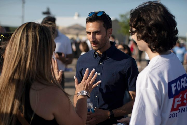 Ontario Minister of Education Stephen Lecce mingles at Ford Fest in Markham, Ont., on June 22, 2019.