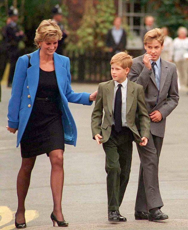 Prince William with Diana, Princess of Wales and Prince Harry on the day he joined Eton in Sept.