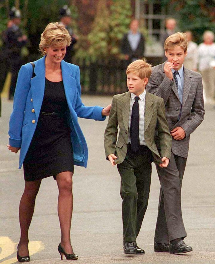 Prince William with Diana, Princess of Wales and Prince Harry on the day he joined Eton in Sept. 1995.