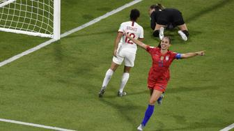 United States' forward Alex Morgan (C) celebrates after scoring a goal during the France 2019 Women's World Cup semi-final football match between England and USA, on July 2, 2019, at the Lyon Satdium in Decines-Charpieu, central-eastern France. (Photo by Jean-Philippe KSIAZEK / AFP)        (Photo credit should read JEAN-PHILIPPE KSIAZEK/AFP/Getty Images)