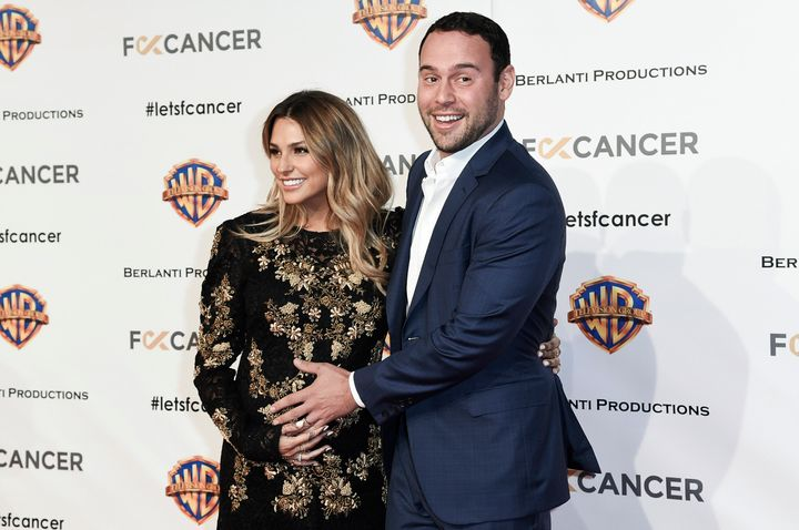 Yael Cohen, left, and Scooter Braun attend a Fuck Cancer gala in 2018.