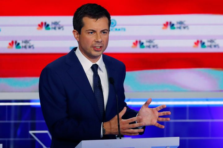 Mayor Pete Buttigieg, the mayor of South Bend, Indiana, speaks during the June 28 Democratic presidential primary debate in M