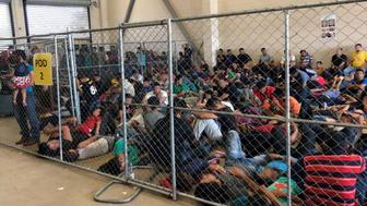 Overcrowding of families observed by OIG on June 10, 2019, at Border Patrol's McAllen, TX, Station.