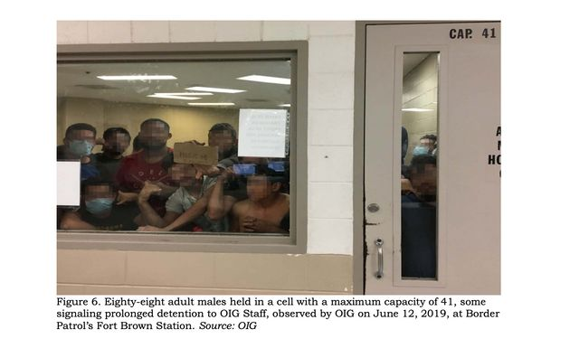 Eighty-eight adult males held in a cell with a maximum capacity of 41, some signaling prolonged detention...