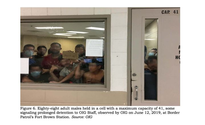Eighty-eight adult males held in a cell with a maximum capacity of 41, some signaling prolonged detention to inspectors from