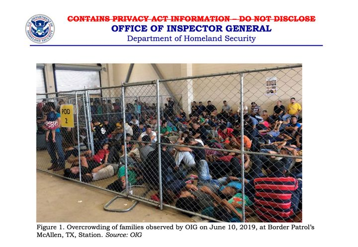 The inspectors observed families crowded into the Border Patrol's McAllen, Texas, station on June 10.