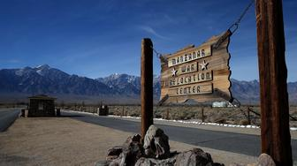 INDEPENDENCE, CA - DECEMBER 09:  A sign is posted at the entrance to Manzanar National Historic Site on December 9, 2015 near Independence, California. Recent presidential campaign rhetoric against Muslims in the wake of terror attacks has drawn comparisons to World War II era incarceration of Japanese Americans. Manzanar War Relocation Center was one of ten internment camps where Japanese American citizens and resident Japanese aliens were incarcerated from 1942 to 1945 during World War II.  (Photo by Justin Sullivan/Getty Images)