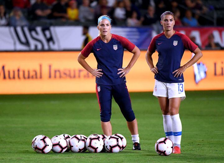 Ertz and Morgan warm up before a match against Chile on Aug. 31, 2018, in Carson, California.