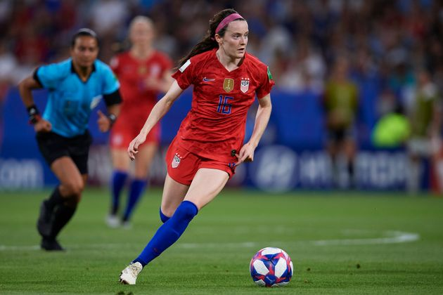 Rose Lavelle in the semi-finals of the FIFA Women's World Cup, France 2018 opposing ...