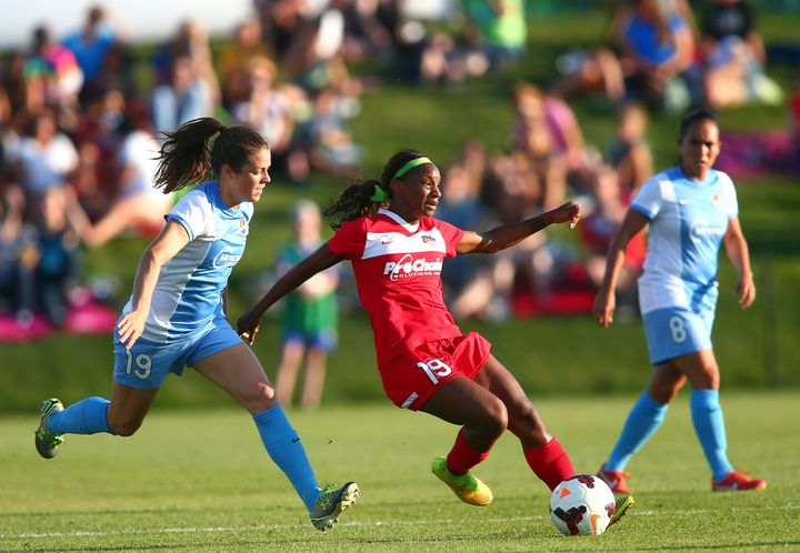 Crystal Dunn playing for the Washington Spirit during a NWSL match in Boyds, Maryland, in August 2014.