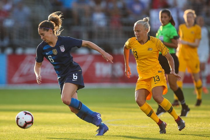 Morgan Brian during the Tournament of Nations match between Australia and United States on July 29, 2018, in East Hartford, Connecticut.